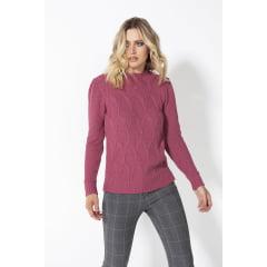Blusa de tricot ponto rede com pregas na manga