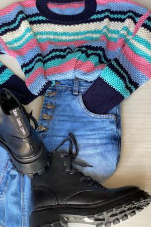 Blusa tricot listrado LG031